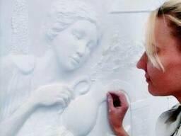 Барельеф, горельеф, скульптура, роспись стен.