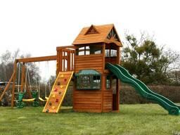 Деревянные детские игровые комплексы , качели, песочницы