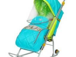 Детские Санки-коляска «Тимка Люкс» Цвет Бирюзовый