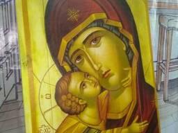 Икона Божьей Матери с младенцем на дереве 400*600