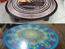 Казахский стол / национальные столы круглые с УФ фотопечатью