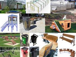 Козырьки, навесы, арки, ограды, решетки, урны, скамейки, фон