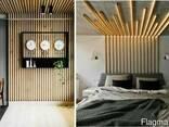 Кубообразный дизайнерский реечный потолок Дуб 3D