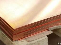 Медный лист М1М 0.8х600х1500 мм.