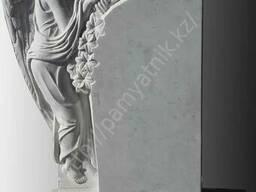 "Памятник ""Скорбящий ангел"" из белого мрамора. - фото 2"