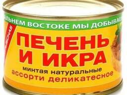 """Печень и икра минтая натуральные """"Ассорти деликатесное"""" 240"""