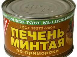 """Печень минтая """"ПО-приморски"""" 240г 1/48 (197)"""