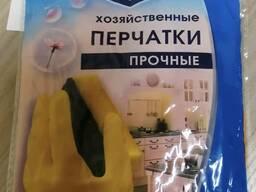Перчатки резиновые хозяйственные, размеры: M, L