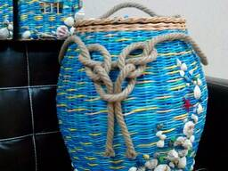 Плетение корзин разной формы и расцветки
