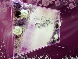 Пресс стена 3D, баннер на свадьбу с цветами