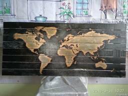 """Продаётся картина на дереве """"Карта мира"""""""