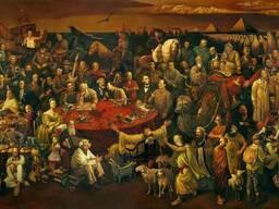 """Продаётся картина на холсте """"103 знаменитых людей мира"""""""