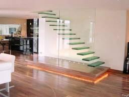 Стеклянные лестницы и перильные ограждения - фото 5