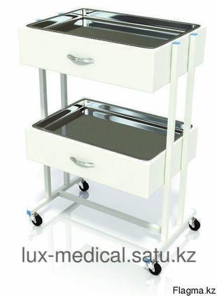 Столик хирургический с 2 выдвижными ящиками и 2-мя поддонами