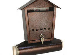 Ящик почтовый «Домик», с замком, бронза